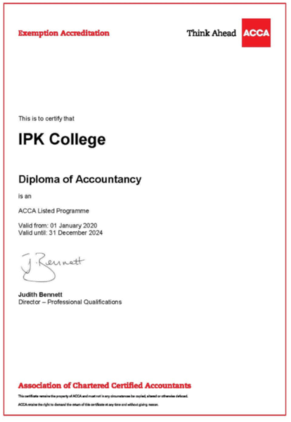 Diploma of Accountancy - Exemptions Cert