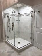 Corner Shower with Door Hinged From Panel