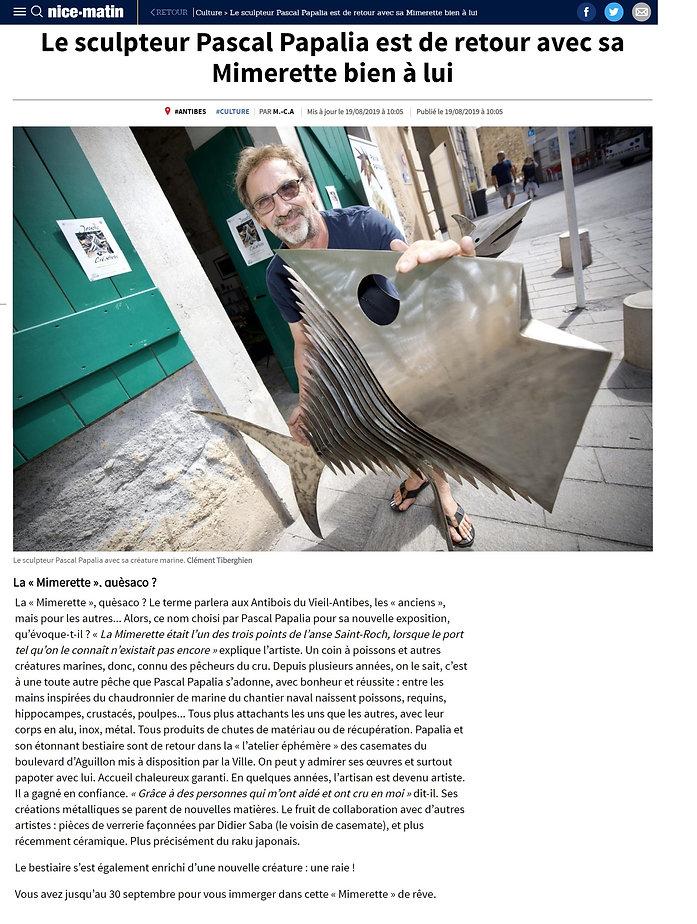 article nice matin la mimerette aout 201