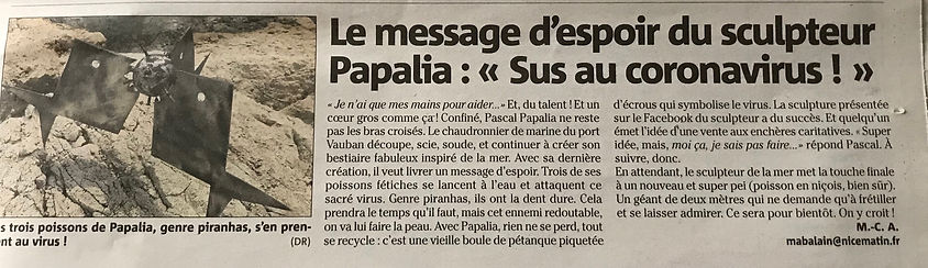 article nice matin poisson coronaviru.JP
