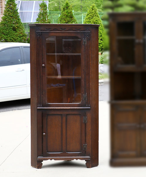 Antique corner display cabinet