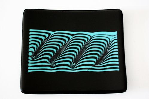 Black & Turquoise Glass Rectangular Plate
