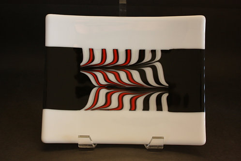 Black, White & Red Combed Glass Rectangle Plate