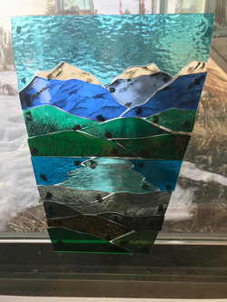 Stained glass Mountain Lake Scene