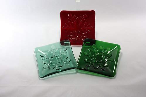 Snowflake Glass Dishes Set of 3