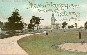 Camberwell Gardens and Town Hall 1907.jp