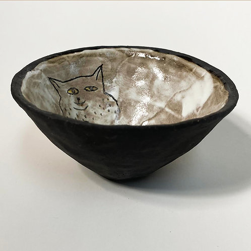 Cat Small Tall Bowl Black Bottom