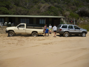 Beach hut for turtle monitoring. Charley's trusty jeep after having rescured Tarik's backie