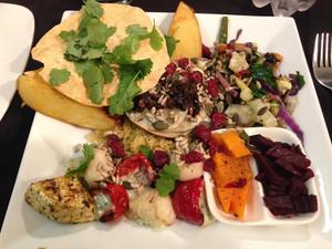 A South African vegetarian platter. Even better than quiche and butternut soup!