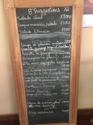 A typical Menu du Jour in Madagascar