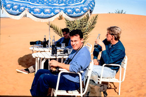 The team drinking Pepsi and Watching Hoopoe-Larks