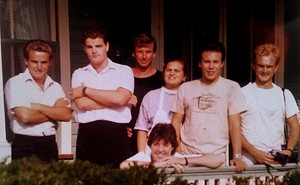 """Members of the """"British Invasion"""" of keen young Brit birders to Cape May. Julian is second from the right. Also shown are Paul Holt (far right), Alan Curry (black shirt), and Richard Crossley (far left)"""