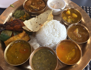 Indian food is often served this way in the south