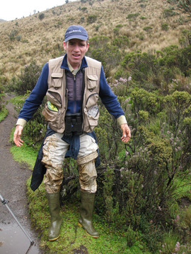 Charley in the Paramo. It's boggy!