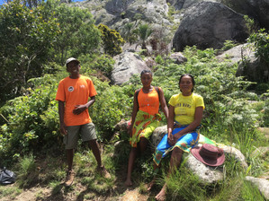 Augustin and two local ladies on the trail