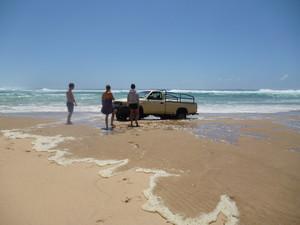 Tide coming in, threatening to swamp Tarik's truck!