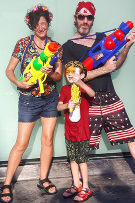 Charley's family ready for the Song Kran Festival water fight