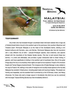 Peninsular Malaysia Set-Departure