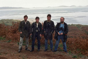 Twitchers on the Scilly Isles, Oct 1986. From left to right: Guy Shorrock, Julian Hough, Simon Smethurst, and Doug McAdam