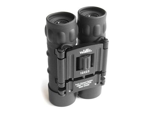 Binocular compacto tipo tejado, 10X25 mm, con correa y funda, negro