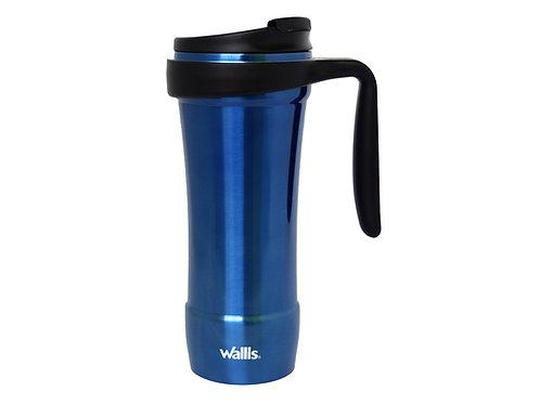 Taza térmica con protector antiderrames, 470 ml, azul metálico con negro