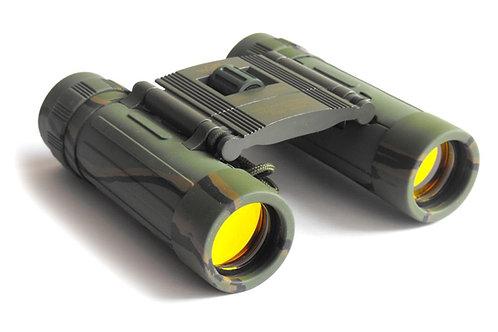 Binocular compactotipo tejado, 12x25 mm, con correa y funda, camuflaje