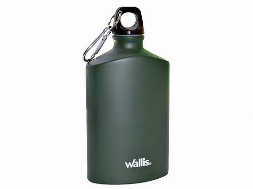 Botella de aluminio, plana con gancho y tapa rosca, 500 ml, verde olivo