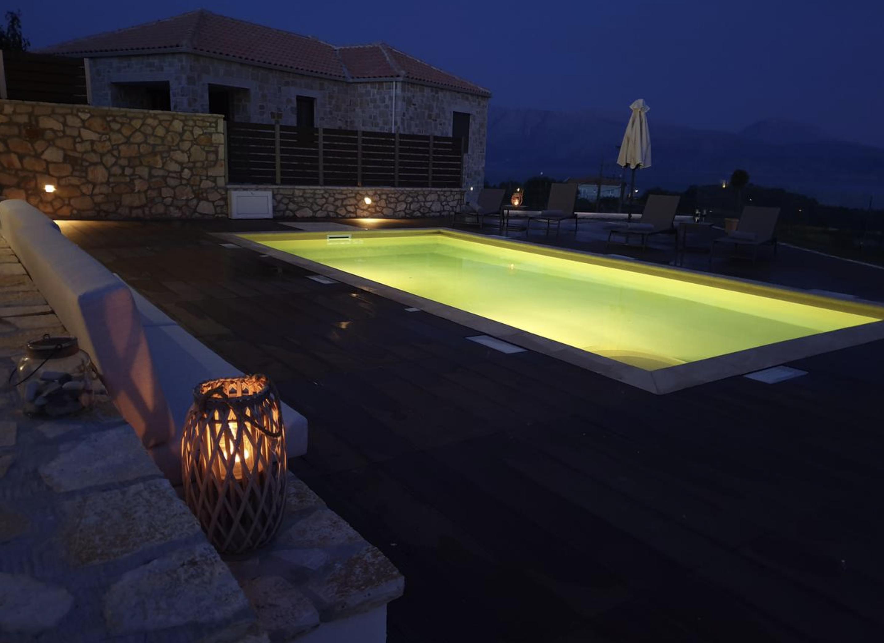 Twin Villas night time pool 1