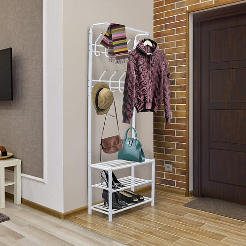 Shoe Rack With Hanger - White