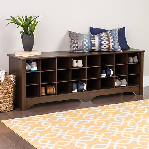 Prepac 24 pair Shoe Storage Cubby Bench, Multiple Finishes