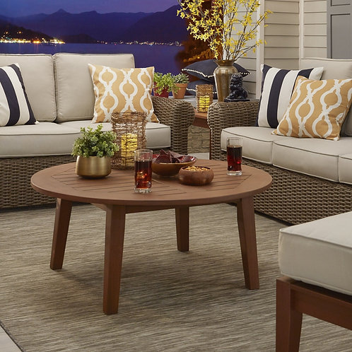 Wood Patio Round Coffee Table