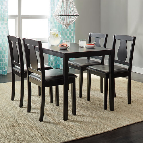 Simple Black 5-piece Dining Set