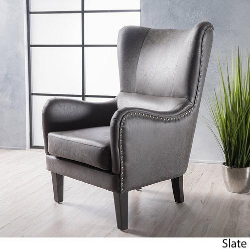 High-back Studded Fabric Club Chair