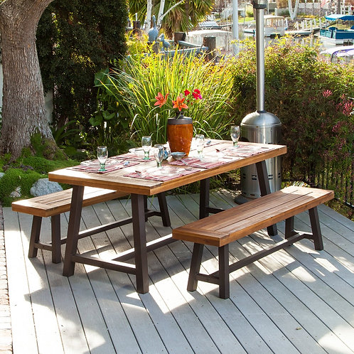 Thumbnail Carlisle Rustic Metal 3-piece Outdoor Dining Set by Christopher Knig
