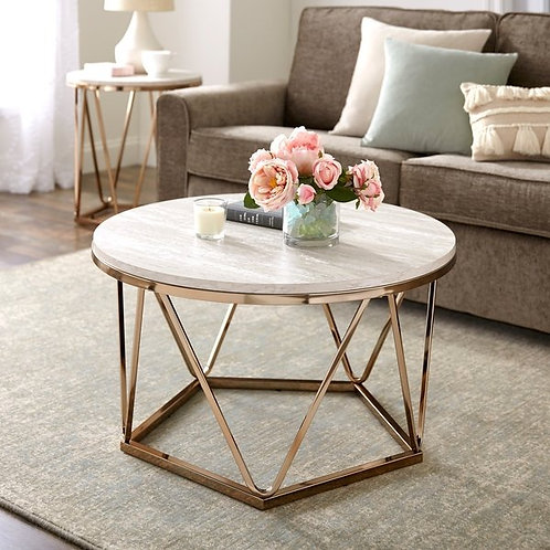 Henderson Faux Stone Goldtone Round Coffee Table