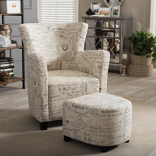 French Script Patterned Fabric Club Chair and Ottoman Set