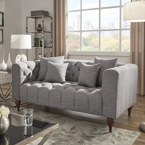 Danise Tufted Linen Upholstered Tuxedo Arm Loveseat