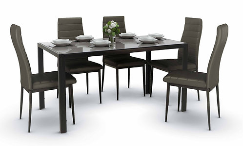 Trempe Dining Set Black A (1+6)