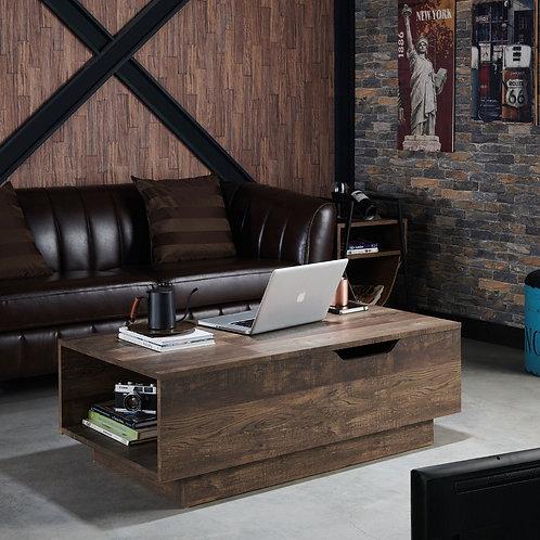 Hernan Rustic Reclaimed Oak Distressed Lift Top Coffee Table