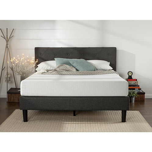King-Size Upholstered Button Tufted Diamond Stitched Platform Bed