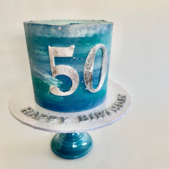 MG Blue & Silver Watercolor 50th Birthday Cake
