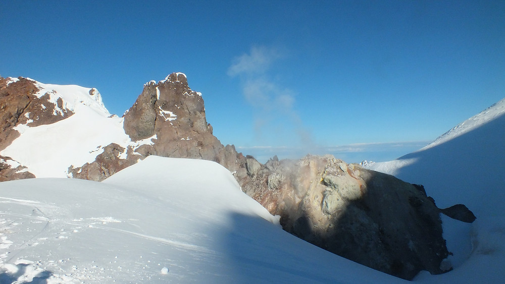 On top of The Hogsback, Crater Rock was just south of us. Here's a photo of the volcanic steam coming from its vents.