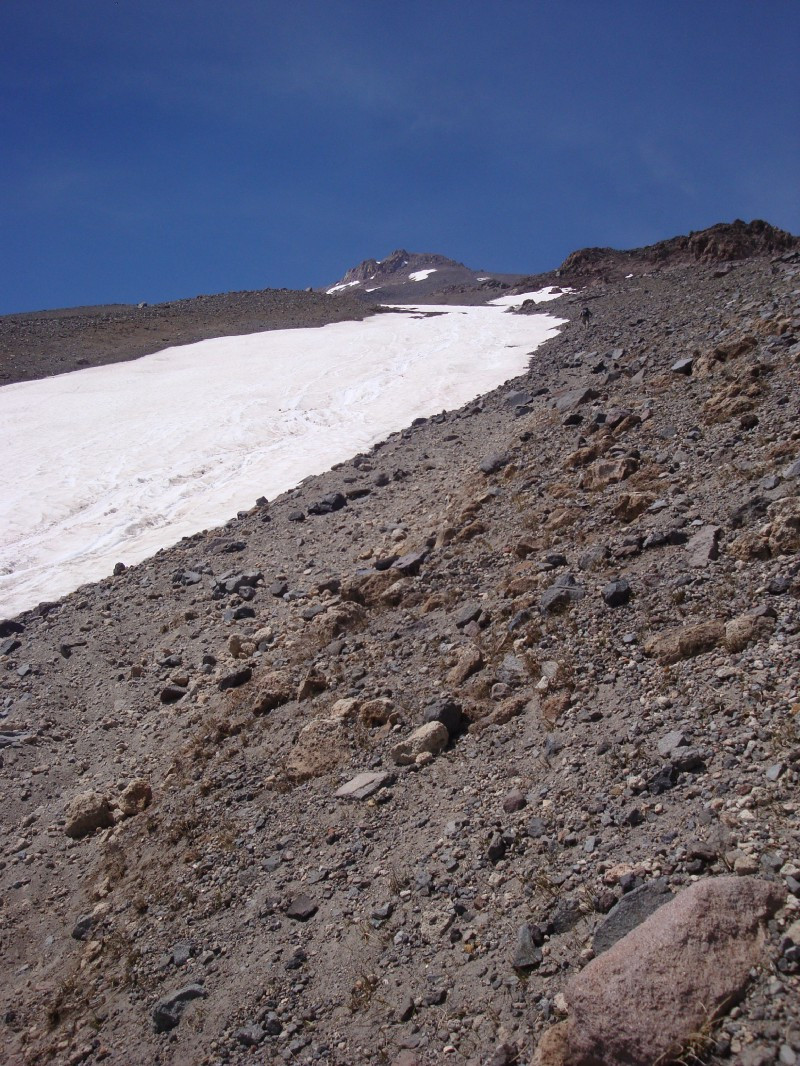 The foot of the small snowfield, right after my encounter with the lone climber.