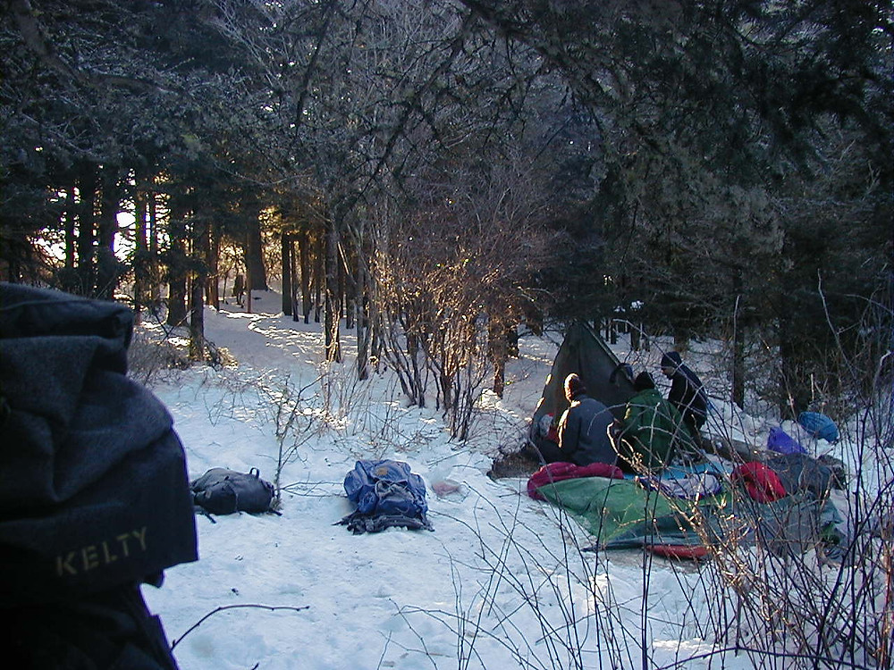 The sun rising on our frozen camp.