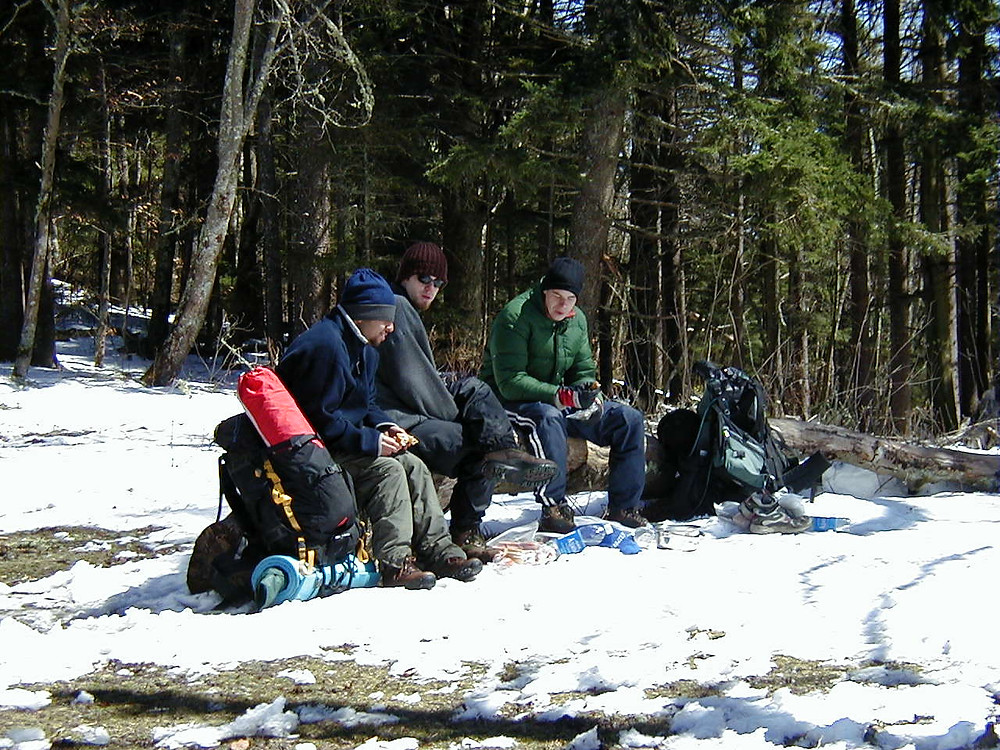 Taking a well-deserved rest during the first day's hike.