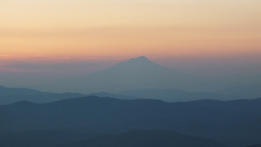 The shadow of Shasta in the haze.