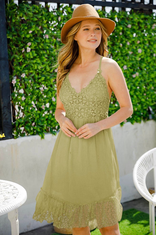 Boho Olive crochet dress