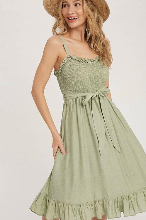 Boho sage ruffle dress