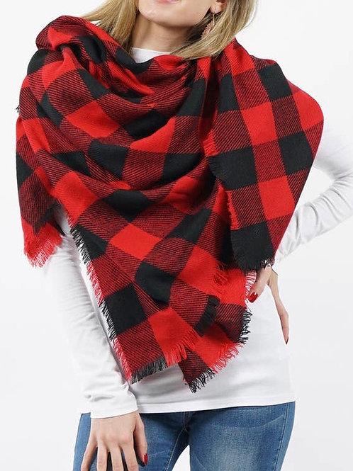 Blk/Red Plaid Blanket Scarf