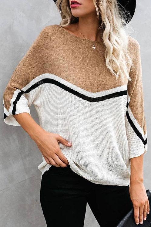3/4 color splice camel loose fit sweater
